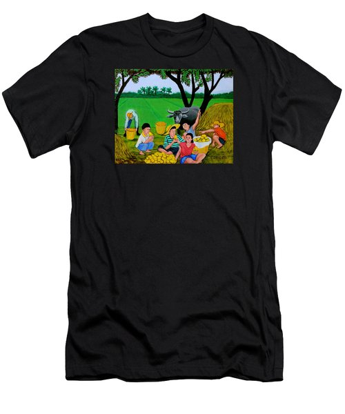 Kids Eating Mangoes Men's T-Shirt (Slim Fit) by Cyril Maza