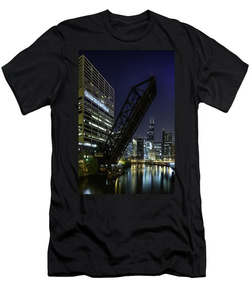 Kinzie Street Railroad Bridge At Night Men's T-Shirt (Athletic Fit)