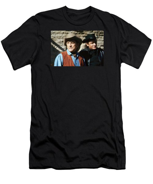 Men's T-Shirt (Slim Fit) featuring the photograph Kirk Douglas Johnny Cash A Gunfight  Old Tucson Arizona 1971 by David Lee Guss