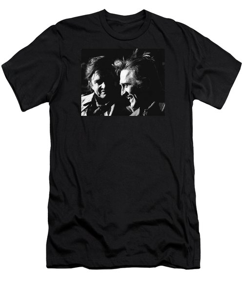 Men's T-Shirt (Slim Fit) featuring the photograph Kirk Douglas Laughing Johnny Cash Old Tucson Arizona 1971 by David Lee Guss