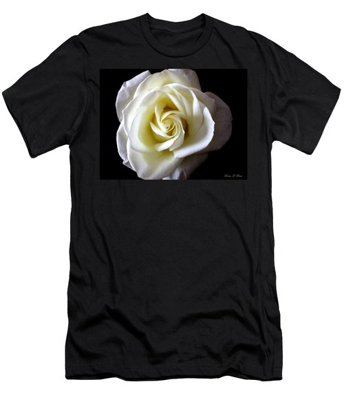 Men's T-Shirt (Slim Fit) featuring the photograph Kiss Of A Rose by Shana Rowe Jackson