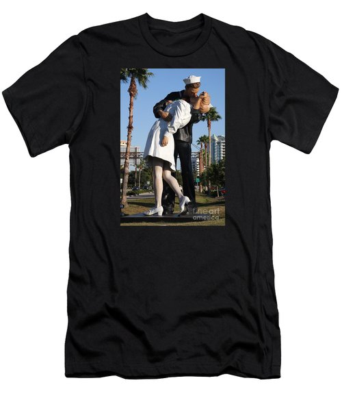 Men's T-Shirt (Slim Fit) featuring the photograph Kissing Sailor - The Kiss - Sarasota by Christiane Schulze Art And Photography