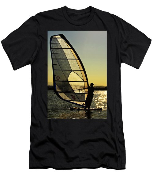 Men's T-Shirt (Slim Fit) featuring the photograph Kiteboarder Sunset by Sonya Lang