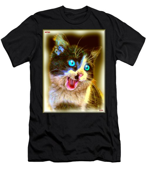 Men's T-Shirt (Slim Fit) featuring the painting Kitten by Daniel Janda