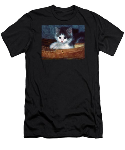 Men's T-Shirt (Slim Fit) featuring the photograph Kitten In Slipper by Sally Weigand