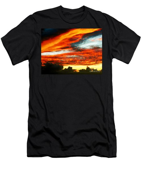 Men's T-Shirt (Slim Fit) featuring the photograph Kona Sunset 77 Lava In The Sky  by David Lawson