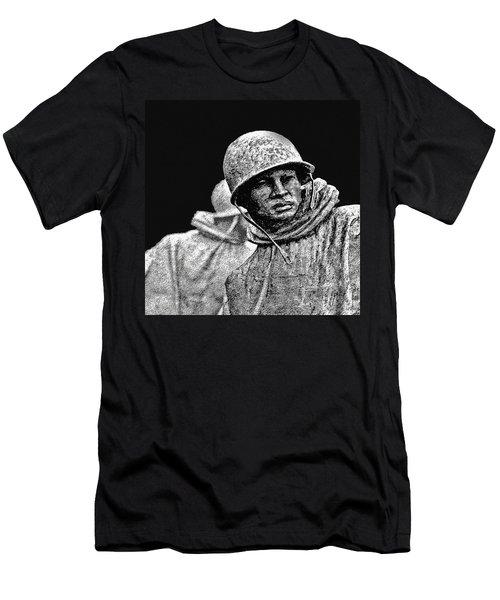 Men's T-Shirt (Slim Fit) featuring the painting Korean War Veterans Memorial by Bob and Nadine Johnston