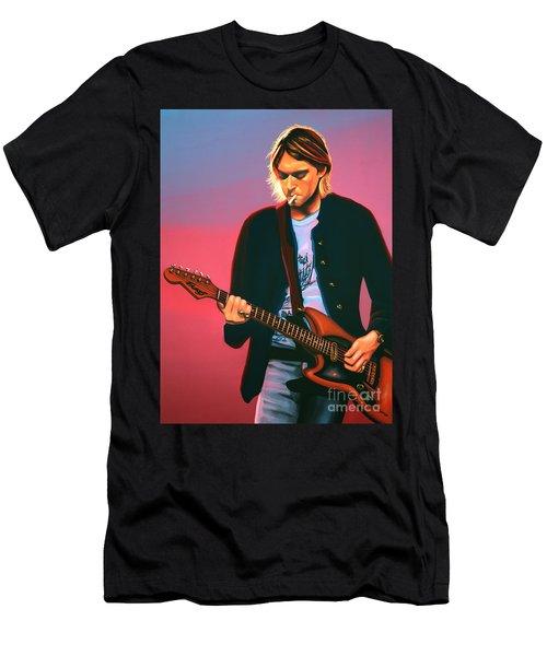 Kurt Cobain In Nirvana Painting Men's T-Shirt (Athletic Fit)