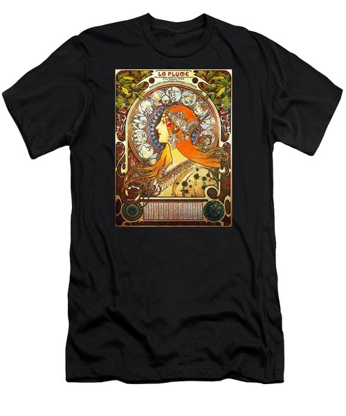 La Plume Zodiac Men's T-Shirt (Slim Fit) by Alphonse Mucha