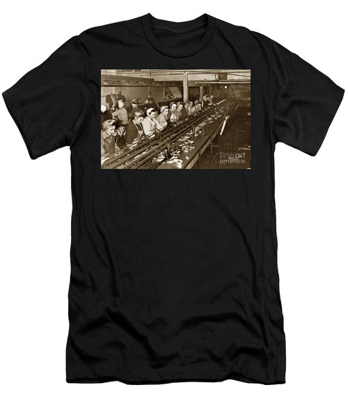 Ladies Packing Sardines In One Pound Oval Cans In One Of The Over 20 Cannery's Circa 1948 Men's T-Shirt (Athletic Fit)