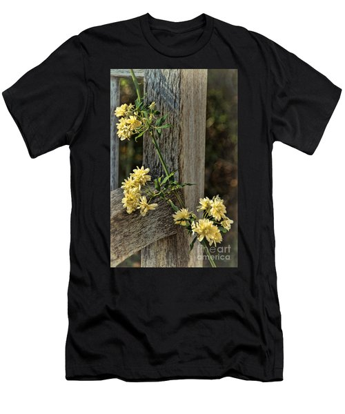 Men's T-Shirt (Slim Fit) featuring the photograph Lady Banks Rose by Peggy Hughes
