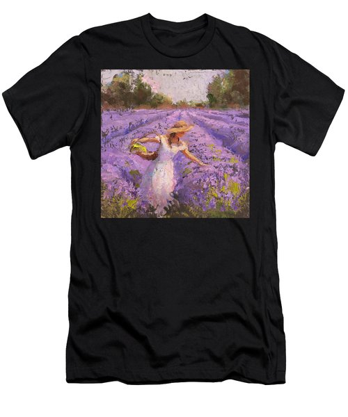 Woman Picking Lavender In A Field In A White Dress - Lady Lavender - Plein Air Painting Men's T-Shirt (Athletic Fit)