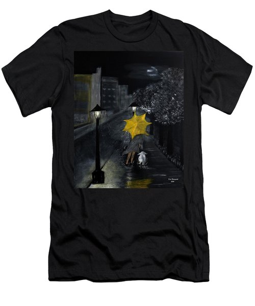 Lady With Yellow Umbrella And White Dog Men's T-Shirt (Athletic Fit)