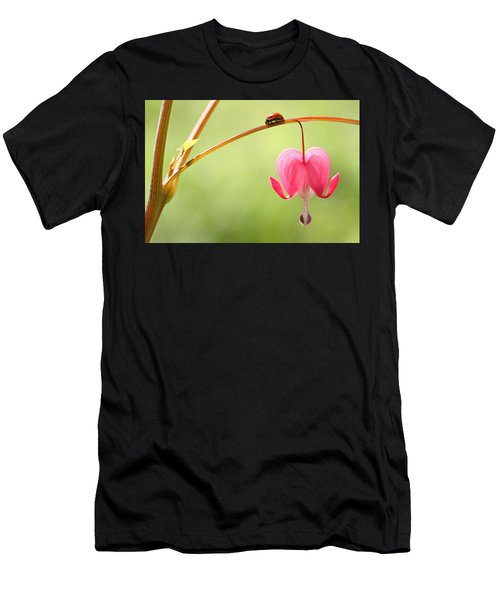 Ladybug And Bleeding Heart Flower Men's T-Shirt (Athletic Fit)