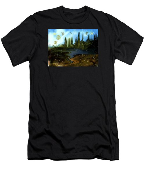 Men's T-Shirt (Slim Fit) featuring the painting Land Of The Fairies  For Kids by Sherri  Of Palm Springs