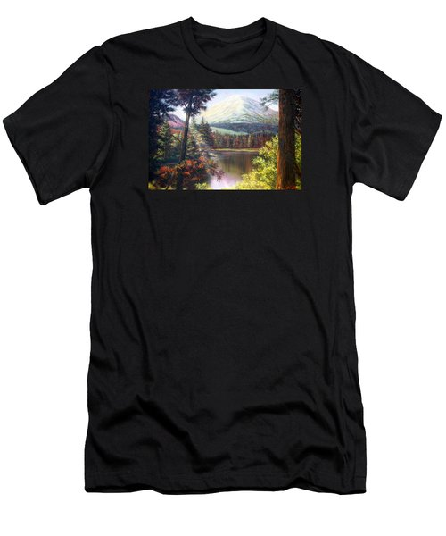 Landscape-lake And Trees Men's T-Shirt (Slim Fit) by Loxi Sibley