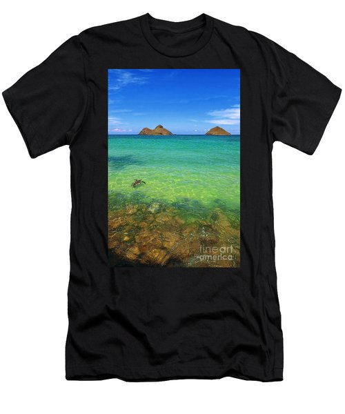 Lanikai Beach Sea Turtle Men's T-Shirt (Athletic Fit)