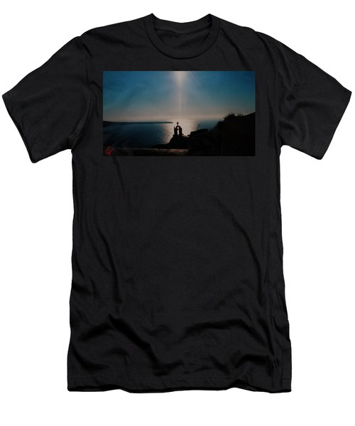 Late Evening Meditation On Santorini Island Greece Men's T-Shirt (Athletic Fit)
