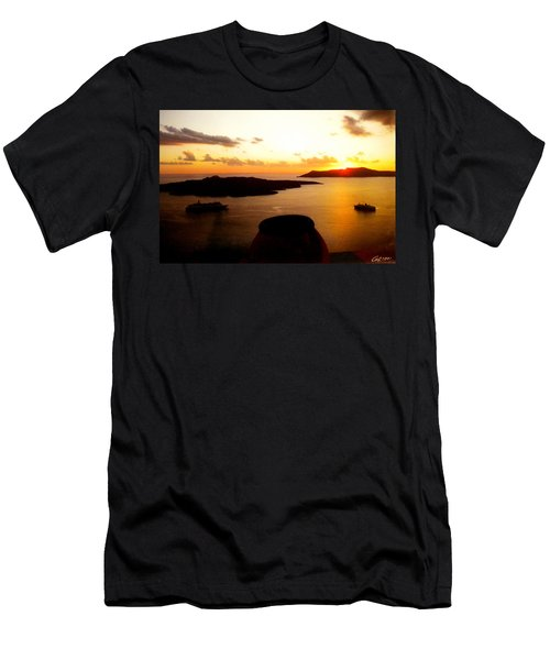 Late Sunset Santorini  Island Greece Men's T-Shirt (Athletic Fit)