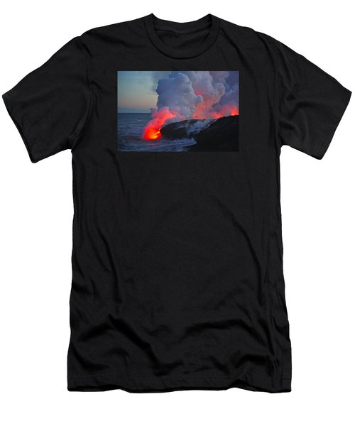 Lava Flow At Sunset In Kalapana Men's T-Shirt (Slim Fit) by Venetia Featherstone-Witty