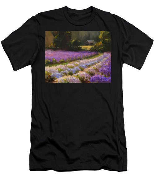 Lavender Farm Landscape Painting - Barn And Field At Sunset Impressionism  Men's T-Shirt (Athletic Fit)