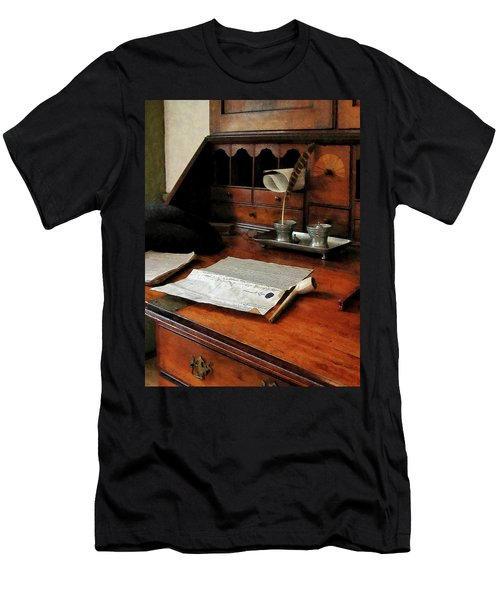 Lawyer - Quill Papers And Pipe Men's T-Shirt (Slim Fit) by Susan Savad