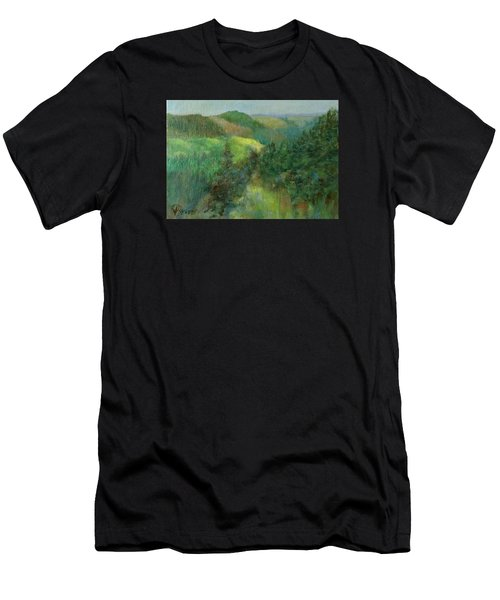 Layers Of Mountain Ranges Colorful Original Landscape Oil Painting Men's T-Shirt (Athletic Fit)