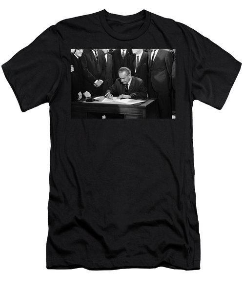 Lbj Signs Civil Rights Bill Men's T-Shirt (Slim Fit) by Underwood Archives Warren Leffler