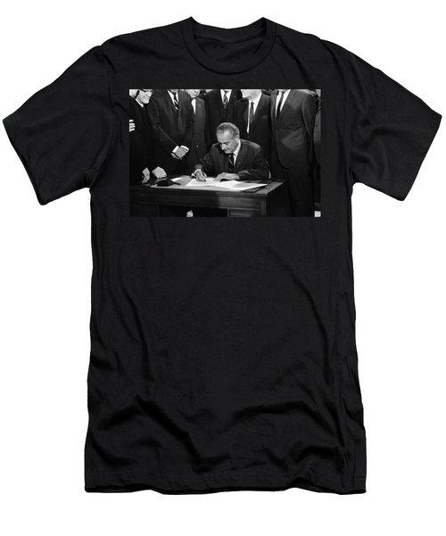 Lbj Signs Civil Rights Bill Men's T-Shirt (Athletic Fit)