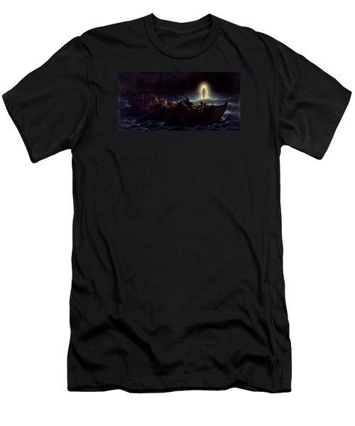 Men's T-Shirt (Slim Fit) featuring the painting Le Christ Marchant Sur La Mer by Amedee Varint