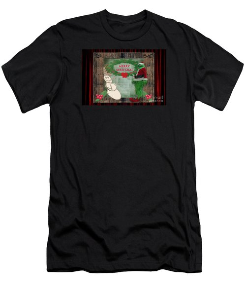 Men's T-Shirt (Slim Fit) featuring the photograph Leaning Into Christmas by Donna Brown