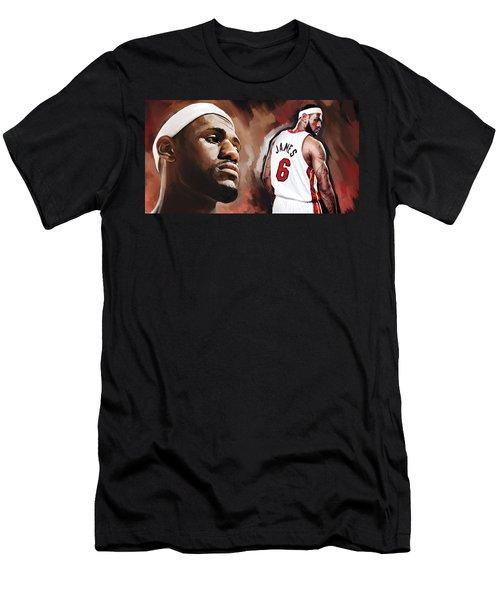 Lebron James Artwork 2 Men's T-Shirt (Slim Fit) by Sheraz A