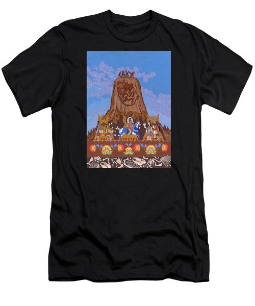 Men's T-Shirt (Athletic Fit) featuring the painting Legend Of Bear's Tipi by Chholing Taha