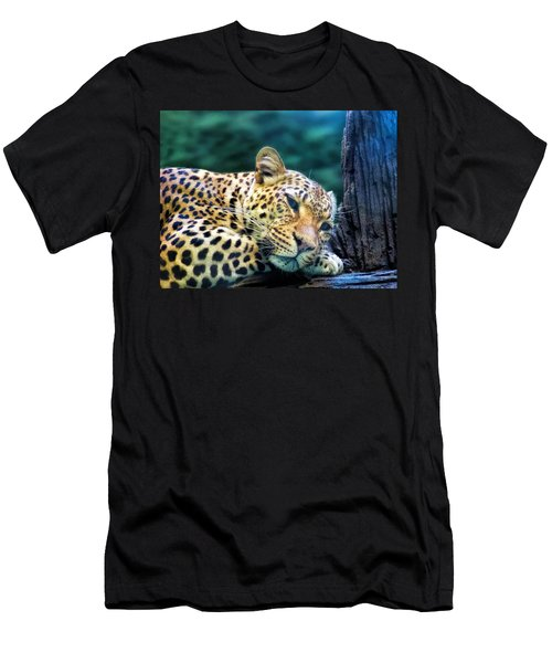 Men's T-Shirt (Slim Fit) featuring the photograph Leopard 1 by Dawn Eshelman