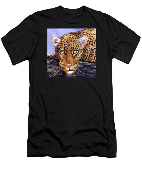 Men's T-Shirt (Athletic Fit) featuring the painting Leopard In A Tree by Thomas J Herring