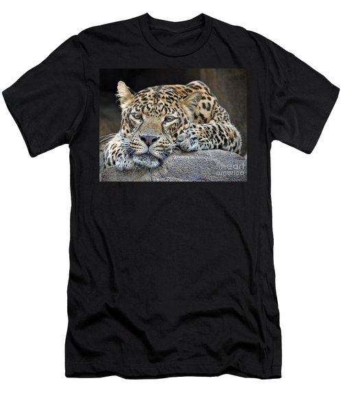 Men's T-Shirt (Slim Fit) featuring the photograph Leopard by Savannah Gibbs