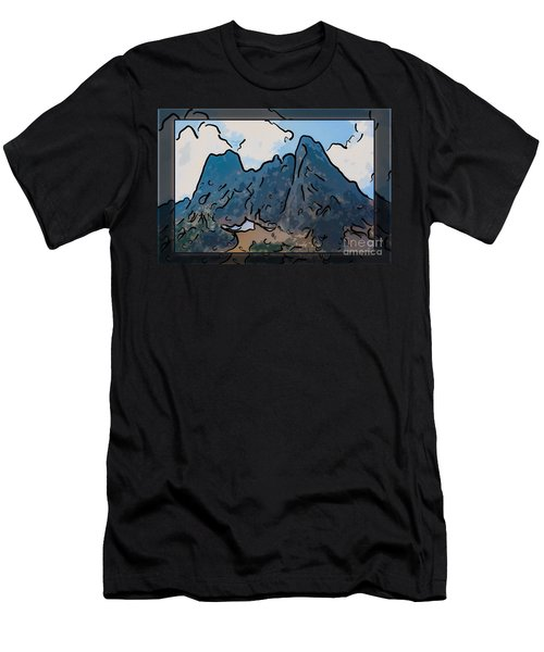 Liberty Bell Mountain Abstract Landscape Painting Men's T-Shirt (Athletic Fit)