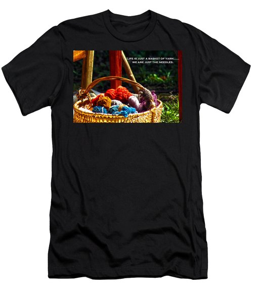 Men's T-Shirt (Slim Fit) featuring the photograph Life Is Just A Basket Of Yarn by Lesa Fine