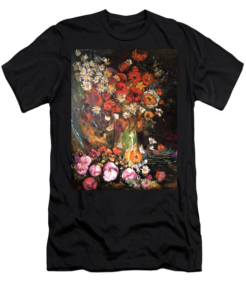 Men's T-Shirt (Slim Fit) featuring the painting Life Is Like A Vase Of Flowers by Belinda Low