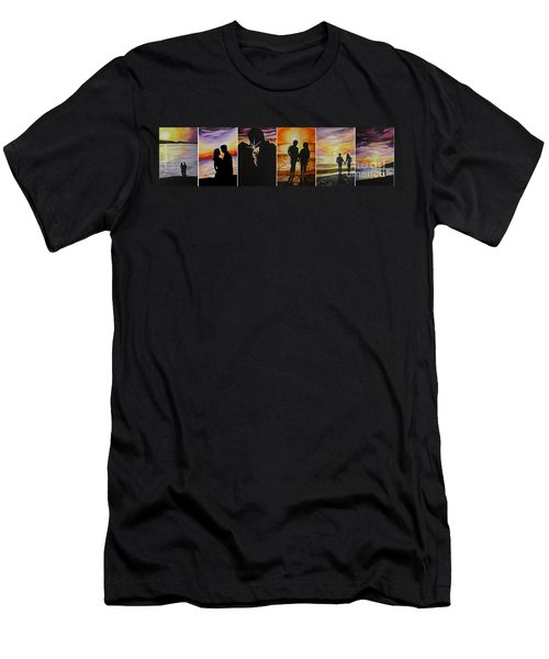 Men's T-Shirt (Slim Fit) featuring the painting Life's A Beach by Tamir Barkan