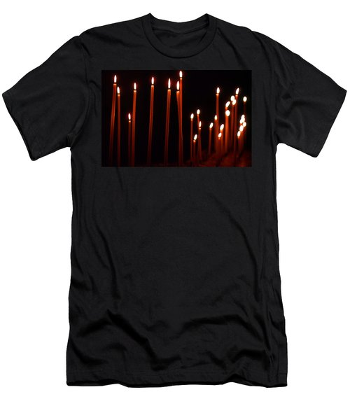 Men's T-Shirt (Athletic Fit) featuring the photograph Light A Candle Say A Prayer by KG Thienemann