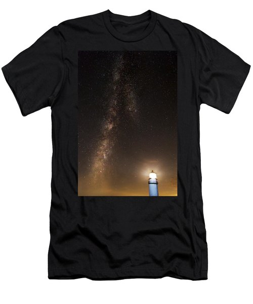 Lighthouse And Milky Way Men's T-Shirt (Athletic Fit)