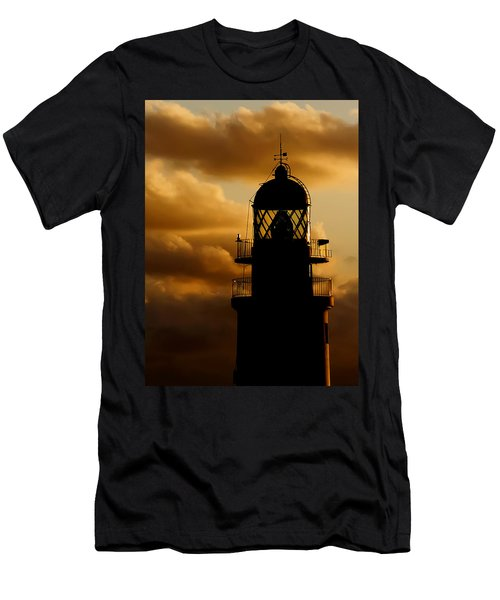 lighthouse dawn in the north coast of Menorca Men's T-Shirt (Slim Fit) by Pedro Cardona