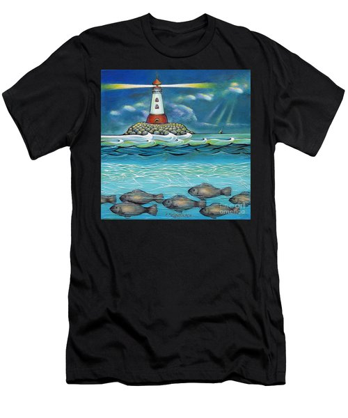 Lighthouse Fish 030414 Men's T-Shirt (Athletic Fit)