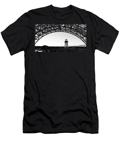 Lighthouse Under Golden Gate Men's T-Shirt (Slim Fit) by Holly Blunkall