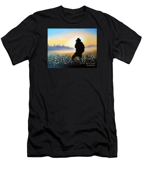 Men's T-Shirt (Slim Fit) featuring the painting Lighthunter by Vesna Martinjak