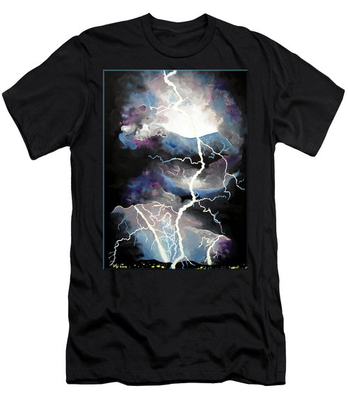 Men's T-Shirt (Slim Fit) featuring the painting Lightning by Daniel Janda