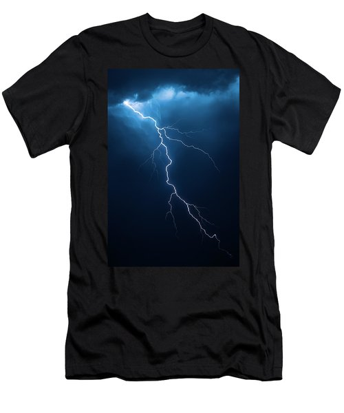 Lightning With Cloudscape Men's T-Shirt (Slim Fit) by Johan Swanepoel