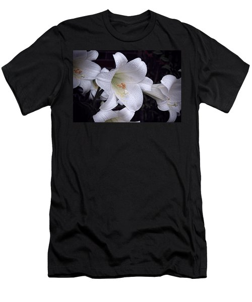 Lily With Rain Droplets Men's T-Shirt (Athletic Fit)