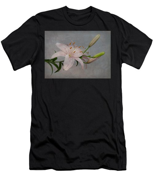 Pink Lily With Texture Men's T-Shirt (Athletic Fit)